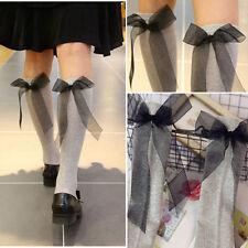 1-4 Pairs Sheer Glitter Long Sparkle Knee Hi Soft Elastic Casual Socks Bow Back