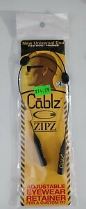 "Cablz Zipz Black 14"" Rubber Adjustable Eyewear Retainer for Custon Fit BRAND NEW"