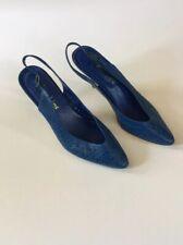 Vintage 1980s Royal Blue Sling Back Heel Hot Line Made In Brazil Size 7B