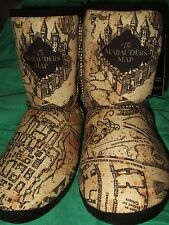 Women's XL 11-12 Harry Potter The Marauder's Map Design Plush Boot Slippers Shoe