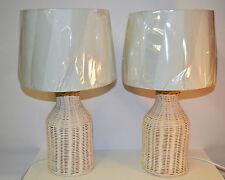 SET OF 2 WHITE WASH TABLE LAMP WICKER BASE WHITE FABRIC SHADE