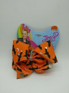 JoJo Siwa Halloween Hair Bow Orange with Black Bats Silver Stars Moon