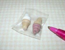 Miniature Lola Soft Serve Ice Cream Cones, CHOCOLATE/VANILLA.: DOLLHOUSE 1/12