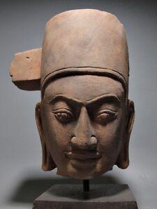 KHMER SCULPTURE SANDSTONE HEAD OF VISHNU 'HARI' PHANOM DA STYLE STONE RELIC