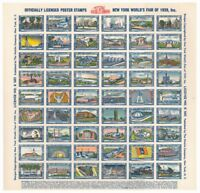 USA New York World's Fair 1939 PRISTINE unfolded sheet 54 poster stamps MNH