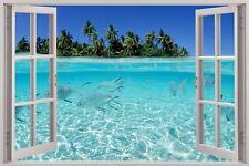 Cheap 3D Window view Exotic Beach Wall Sticker Film Mural Art Decal 525