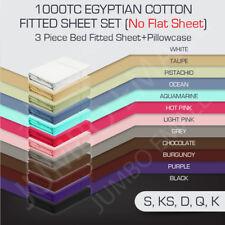 1000TC Egyptian Cotton 3 Piece Bed Fitted Sheet Set Pillowcase(No Flat Sheet)