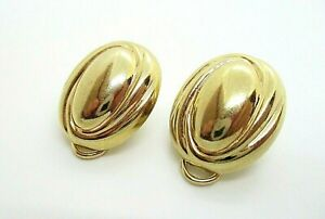 Elegant Pair 9ct 9K Solid Yellow Gold Hollow Oval Comfy Clip Earrings 4.87g