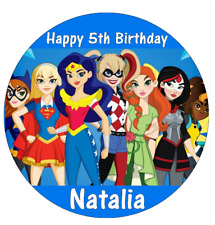 "DC Superhero Girls Personalised Cake Topper 7.5"" Edible Wafer Paper Marvel"