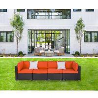 2-5 PCs PE Patio Wicker Rattan Sofa Sectional Outdoor Garden Couch Set Orange