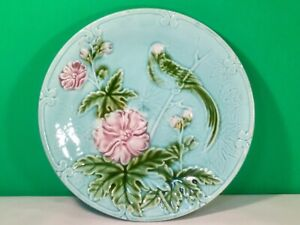 Antique Majolica Plate with Lovebird and Pink Flowers c.1800's