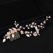 Golden Leaf Bride Hair Comb Wedding Bridal Pearl Pins Headwear Women Jewelry New