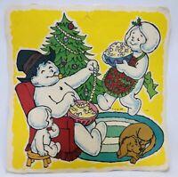 "Vintage Christmas Paper Die Cut 19""X19"" Snow Man Family Xmas 1980s XL Ephemera"