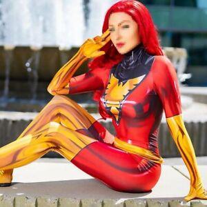 X-men Dark Phoenix Jean Grey Jumpsuit Red Cosplay Costume Adult Kids Halloween