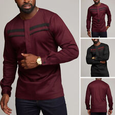 Men African Ethnic Clothing Long Sleeve Dashiki Tops Party Formal T Shirt Blouse