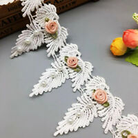 1yd Vintage Flower Leaf Pearl Lace Trim Ribbon Applique Embroidered Sewing Craft