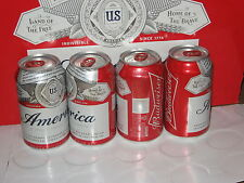 """Budweiser """"America"""" commemorative beer can 12 oz red crown sta-tab bottom-opened"""