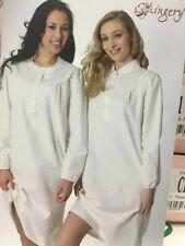 Camicia da Notte Manuela  Lingery art. 9021 in Flanella 100% Cotone