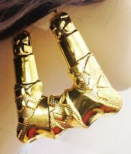 BAMBOO HOOP EARRINGS PUFF SQUARE BAMBOO GOLD TONE RETRO HOOPS 3 INCH