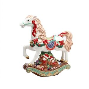 Rocking Horse with Wreaths/Red Ribbon Atop Teddy Bear Base Music Box