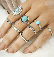 Hot Bohemia Ethnic 8Pcs/Set Retro Carved Flower Silver Plated Turquoise Rings