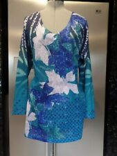 as new M 16 18 TAKING SHAPE TS VIRTUELLE blue floral dress tunic top LONG sleeve