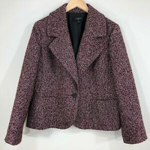 Talbots Petites Womens Tweed Blazer 16P Pink Black Silver Shimmer One Button