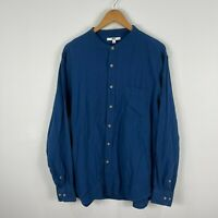 Uniqlo Mens Button Up Shirt Large Blue Long Sleeve Round Neck