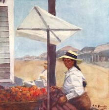 PERU. A fruit stall in Mollendo, Peru 1908 old antique vintage print picture