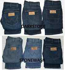EX MENS CUT LABEL ICONIC WRANGLER JEANS ADDED STRETCH REG FIT 6 DENIM SHADES