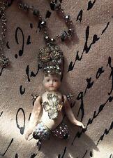 Assemblage Art Antique German Bisque Doll Rhinestones Ooak 25� Pendant Necklace