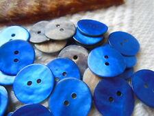lot 12 boutons en NACRE bleu 2 trous diamètre: 1,8 cm  TC