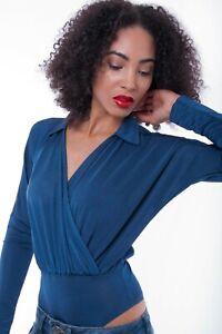 Womens Blue Top Wrap Front Bodysuit Ladies Long Sleeve Blouse