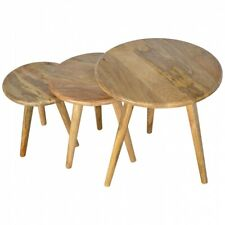 Mango Wood Round Rustic Tables/Hand Crafted/Lamp Table/Plant Stand/Stools