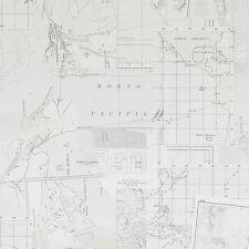 18391 - Riviera Maison Oceans Maps Grey & White Galerie Wallpaper