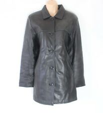 Women's Vintage Fitted Hip Length Black 100% Genuine Leather Coat Jacket UK16