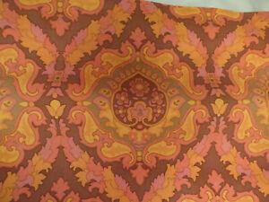 Vintage 1970's Bright Orange Pink Brown Floral Scrolled Wallpaper Part Roll NEW