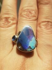925 Sterling Silver Designer Shano Real Opal & Sapphire Ring Size 9