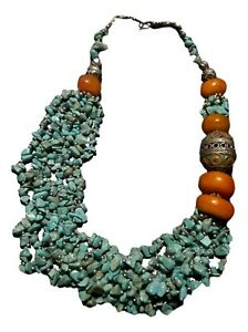 Handcrafted Moroccan Berber  Imitation Amber Turquoise Tiger Eye stone Necklace