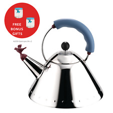 ALESSI | New Graves Kettle in Blue with Bird Whistle 9093 - FREE BONUS GIFT