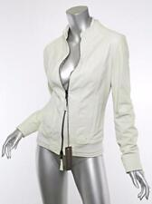 HENRY BEGUELIN Womens White Leather REVERSIBLE Bomber Jacket Coat 6-42 NWT $1950