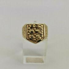 9ct Gold Hallmarked England Three Lions Signet Ring.  Goldmine Jewellers London.
