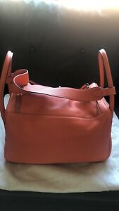 Hermes Lindy 34 Shoulder Bag Brand New in Taurillon Clemence Fire Red