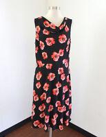Talbots Black Coral Floral Print Dress Size 10 Drape Neck Red Orange Sleeveless