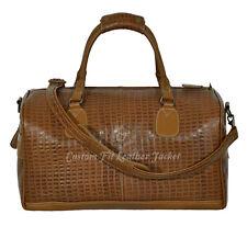 Holdall Weekend Bag Tan CROCODILE PRINT REAL LEATHER