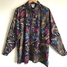 BonWorth Shirt Top Multi-Color Tropical Floral Print Buttons Long Sleeve Size XL