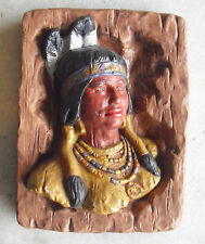 """Large Vintage Ceramic Indian Woman Head Bust Wall Hanging 14"""" Tall"""