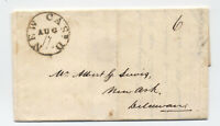 1830 New Castle DE black CDS stampless folded letter to Newark DE [5246.274]