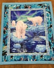 """Polar Bear Quilt * Cotton front * Flannel back * Batting filled * approx 46""""x53"""""""