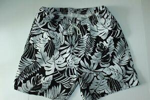 Tommy Bahama Swim Suit Trunks Painterly Palms Black Large L New 34-36 Waist